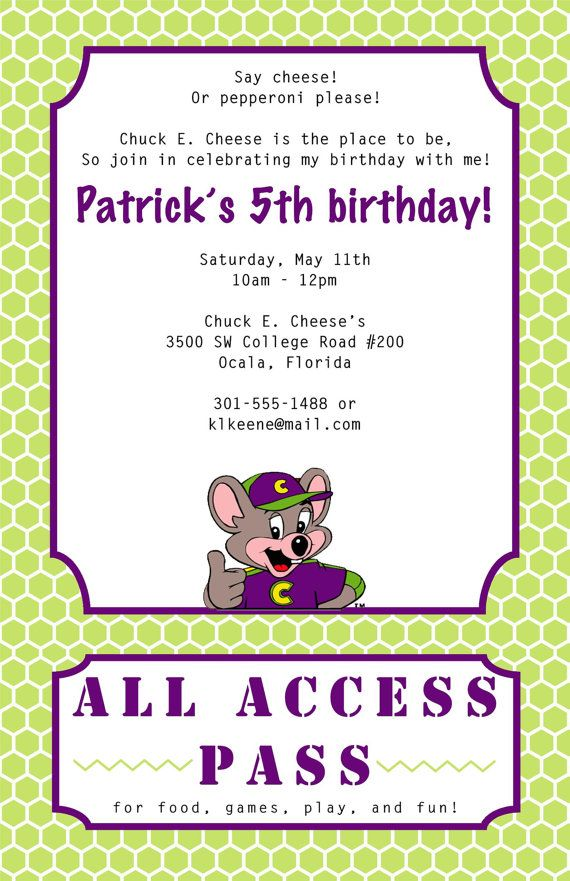 chuck e cheese birthday invitation by