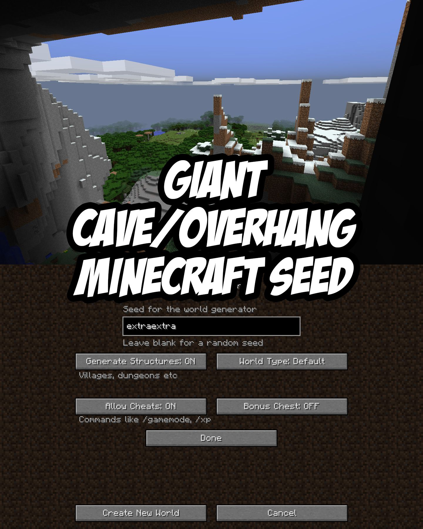 Check out the giant cave/overhang in this Minecraft PC/Mac