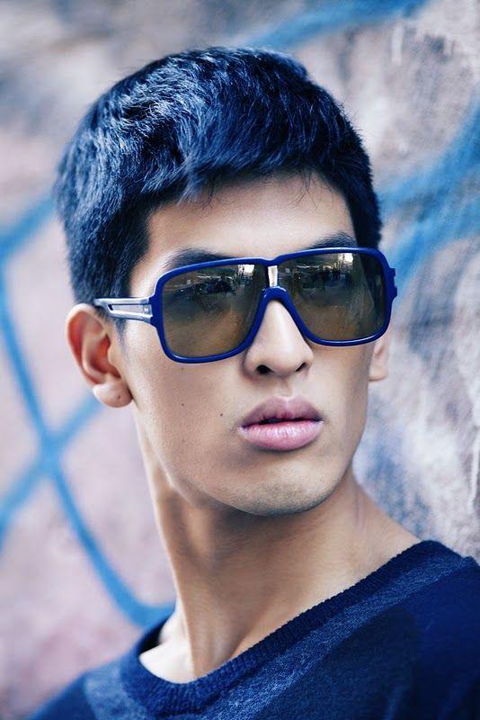 Short Blue Straight Asian Men Hairstyle Dyed Hair Blue Asian Hair