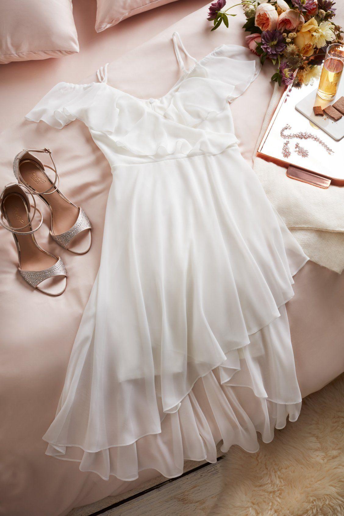 Flounced Cold Shoulder Short FauxWrap Dress (With images