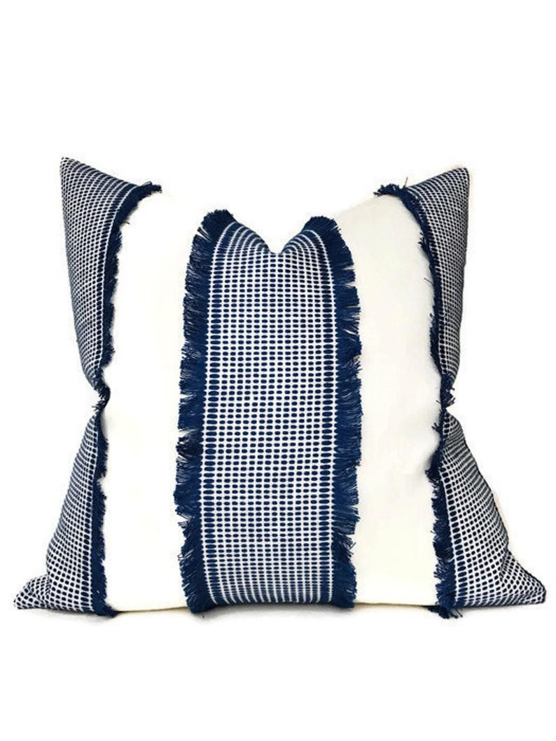 Tulum in Blue Schumacher Fringe Pillow Cover Fringe Blue and White Home Decor
