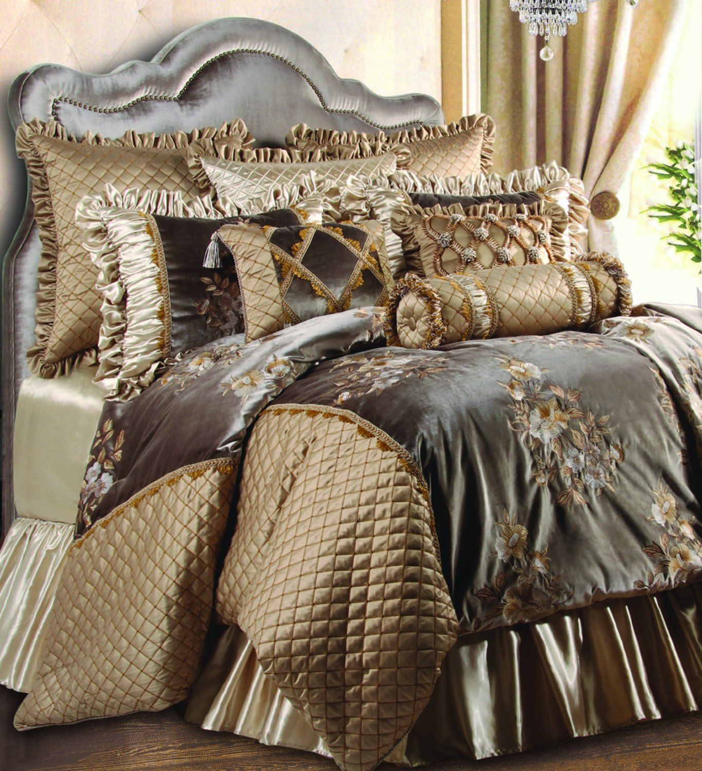 Luxury Embroidered Velvet Gold And Brown Hue Bedding Sets In King Size Captivating Luxury King Comforter Bedroom