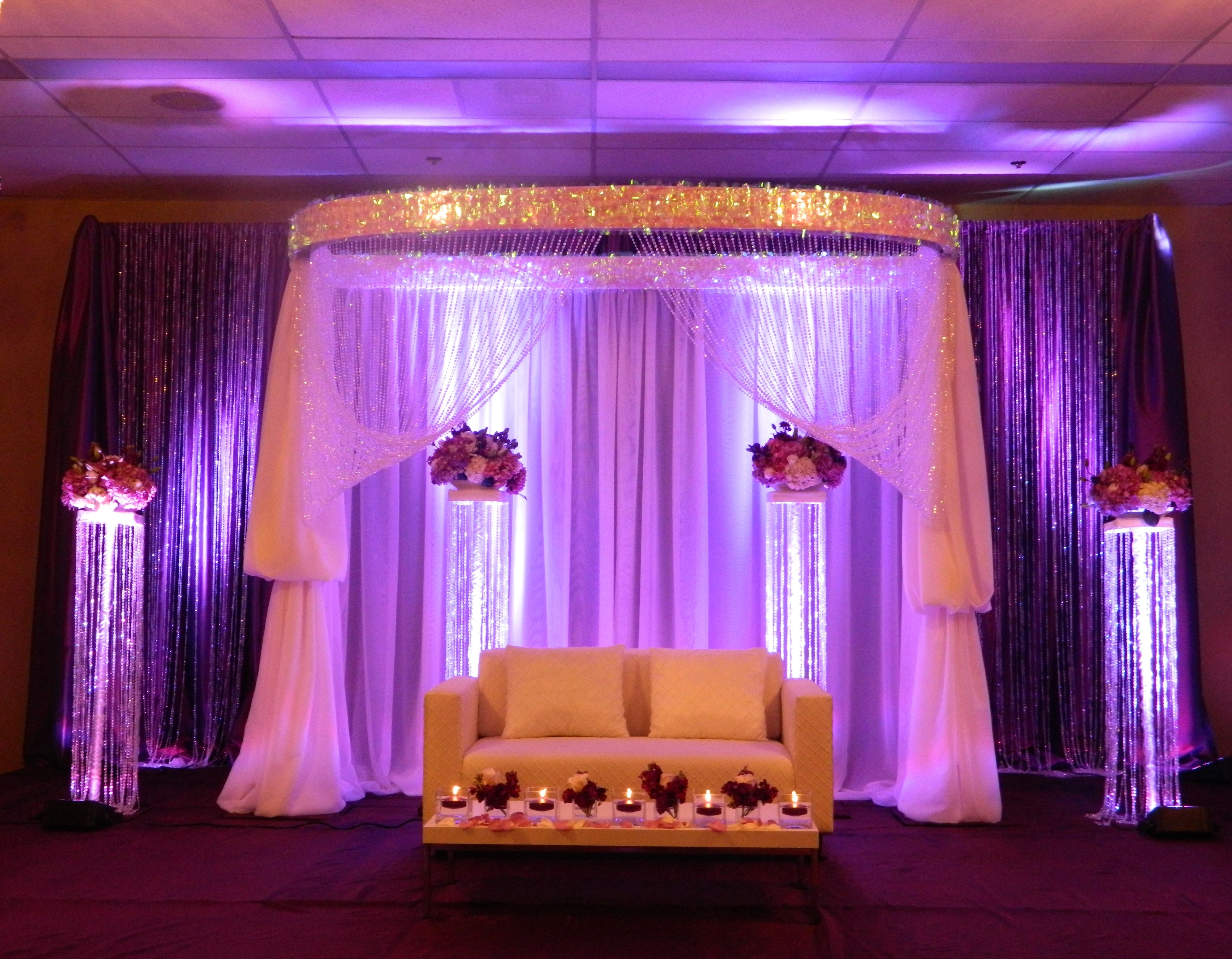 Wedding decoration stage backdrop  Bride u Groom Stage  Waterfall where for flower holders and add