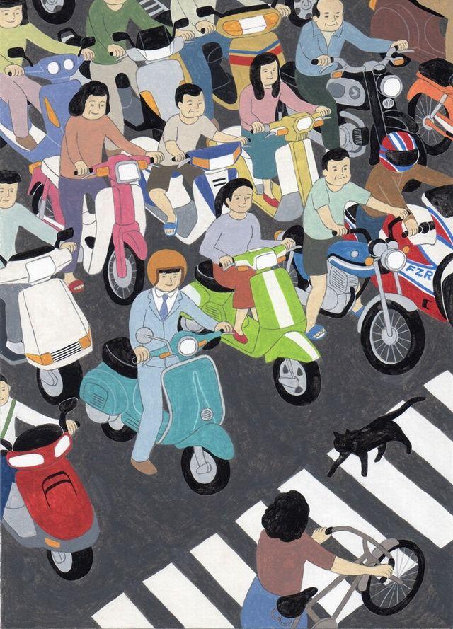 台灣插畫家良根的作品除了有著濃濃道地的台灣氣息,在風格上還有著兒童畫般大膽的色彩以及無透視構圖方式。其作品內容