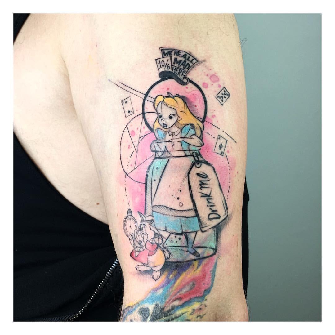 Alice in wonderland tattoo by Barış Yeşilbaş booking