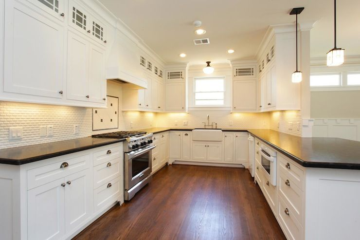 White Cabinets Brushed Nickle Hardware Bronze Lighting Farmhouse