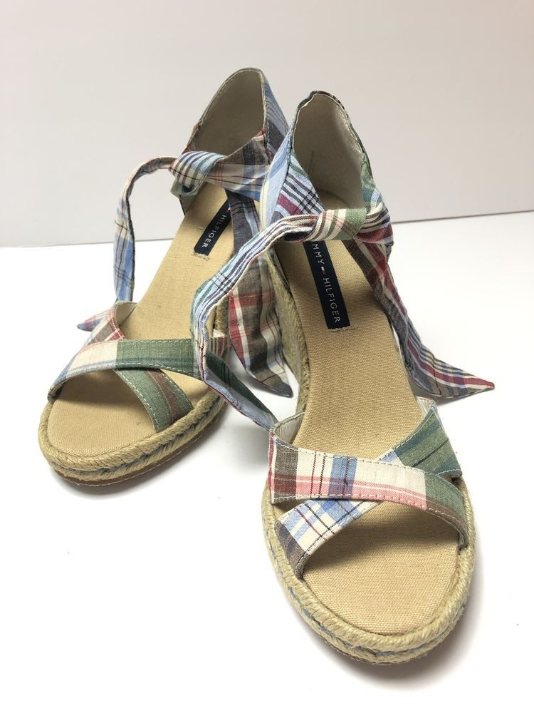 13b86b3a6 Tommy Hilfiger Plaid Tweed Open Toe Ankle Tie Wedges Sandals Womens Size  5.5M  fashion  clothing  shoes  accessories  womensshoes  sandals (ebay  link)