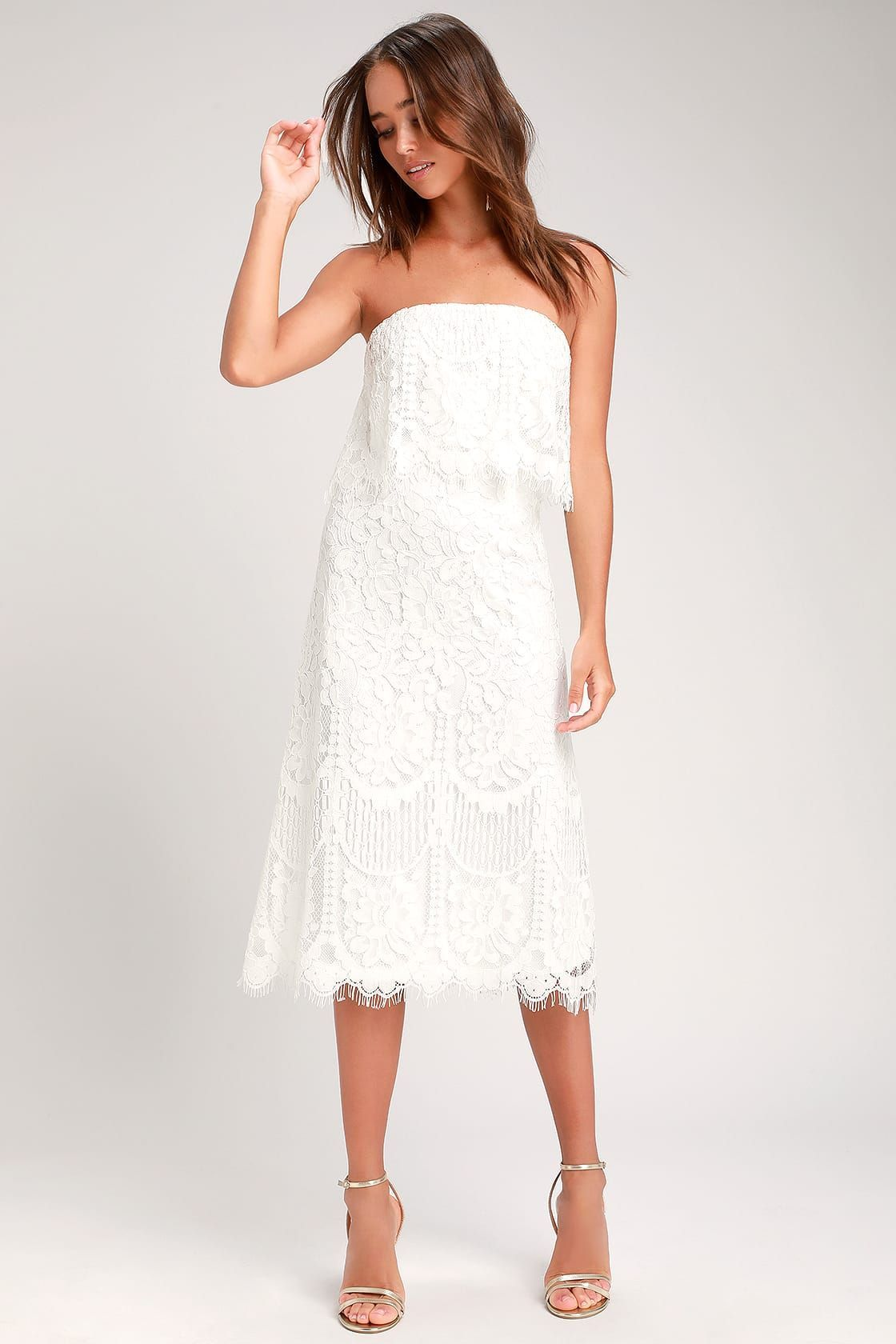 Pin By Komal Rana On Fashion In 2021 White Dresses For Women Strapless Midi Dress White Lace Midi Dress [ 1680 x 1120 Pixel ]