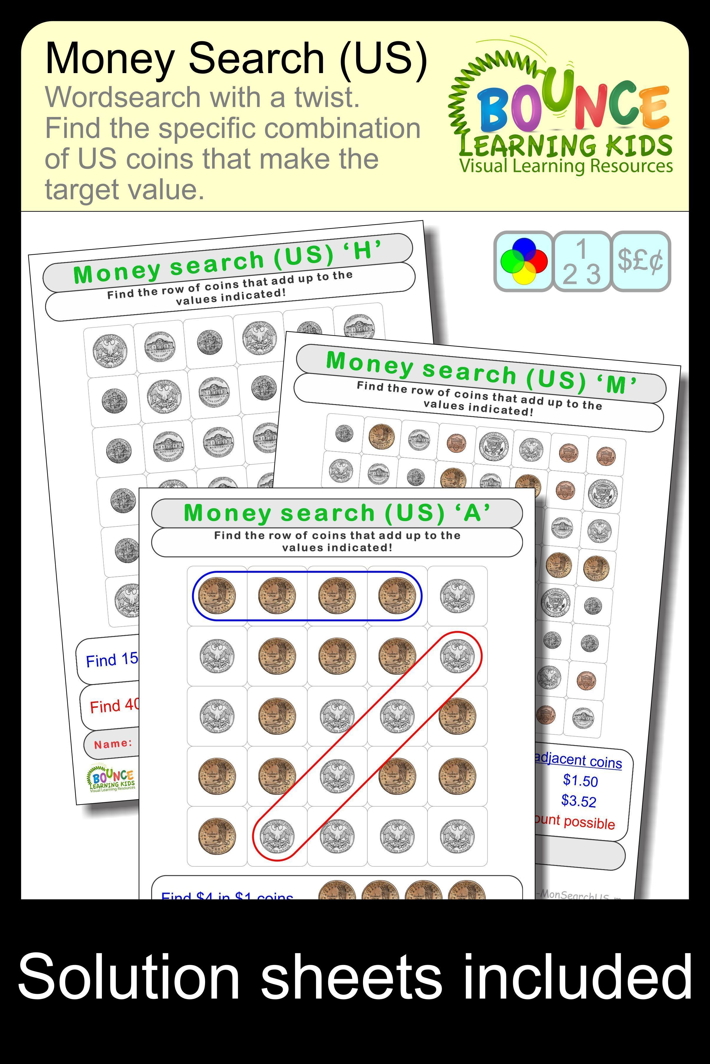Wordsearch Using Us Coins 28 Distance Learning Money