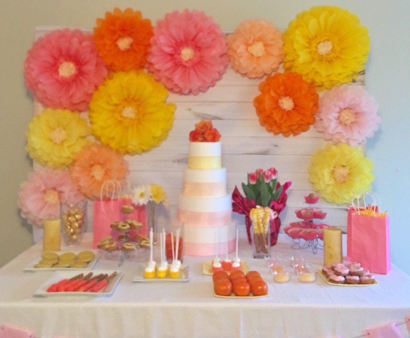 Giant Paper Flower Backdrop In Pink Orange And Yellow For Baby