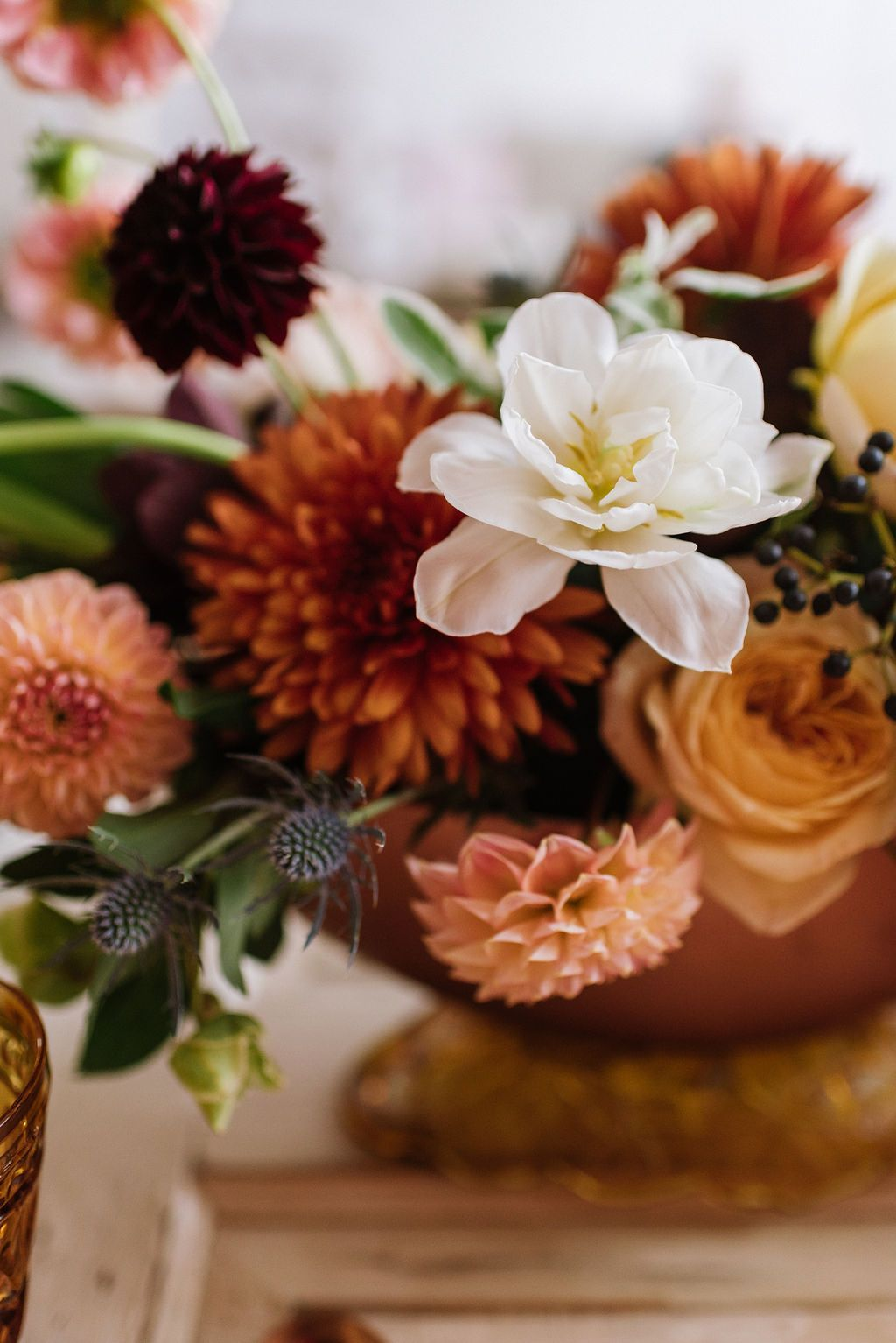 Fall Wedding Flowers Dahlia And Tulip Centerpiece Fall Atlanta