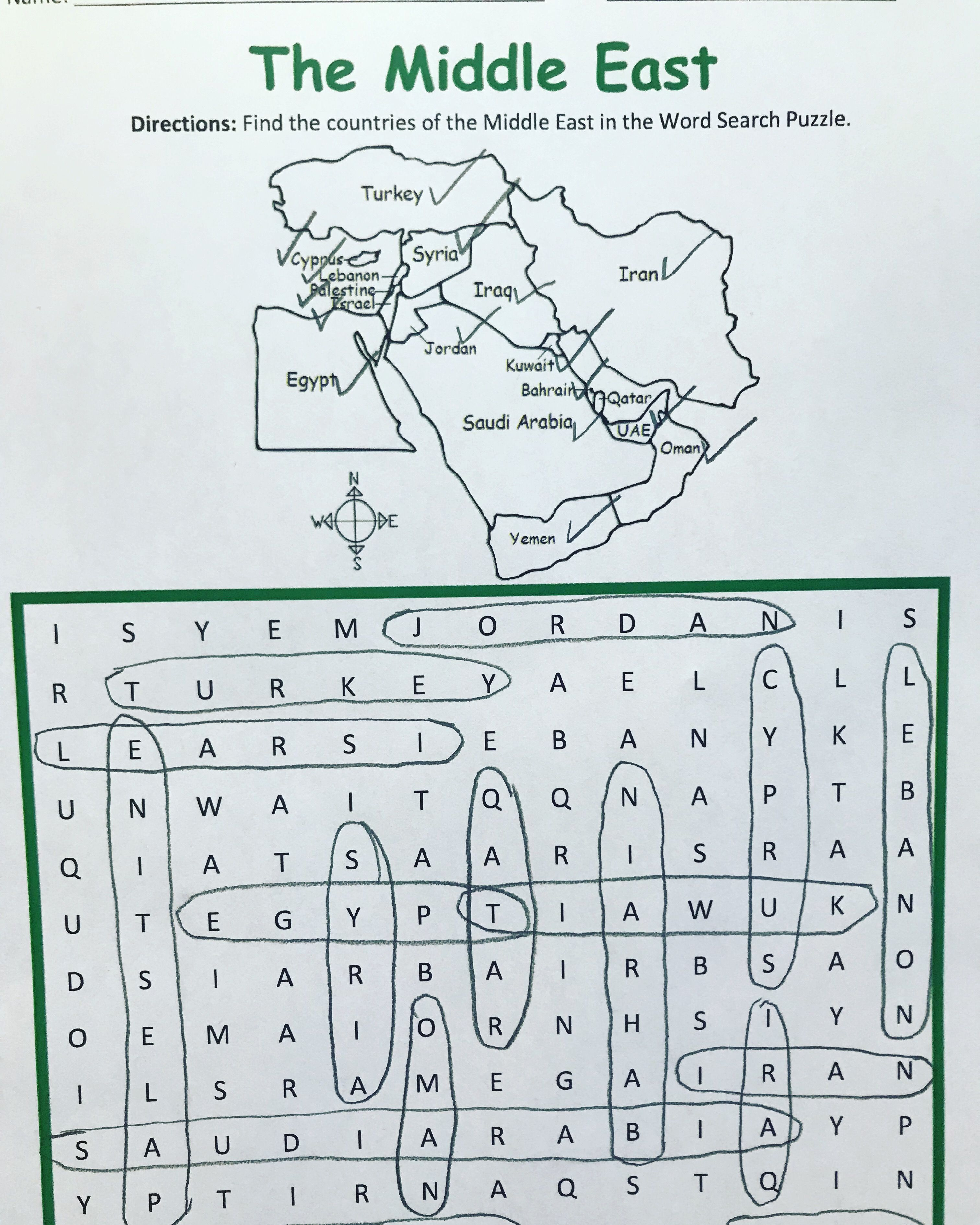 Middle East Word Search Puzzle With Map