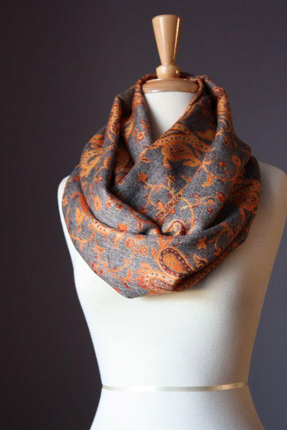 Infinity scarf orange scarf grey scarf pashmina scarf