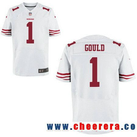 Men's San Francisco 49ers #1 Robbie Gould White Road Stitched NFL Nike Elite Jersey