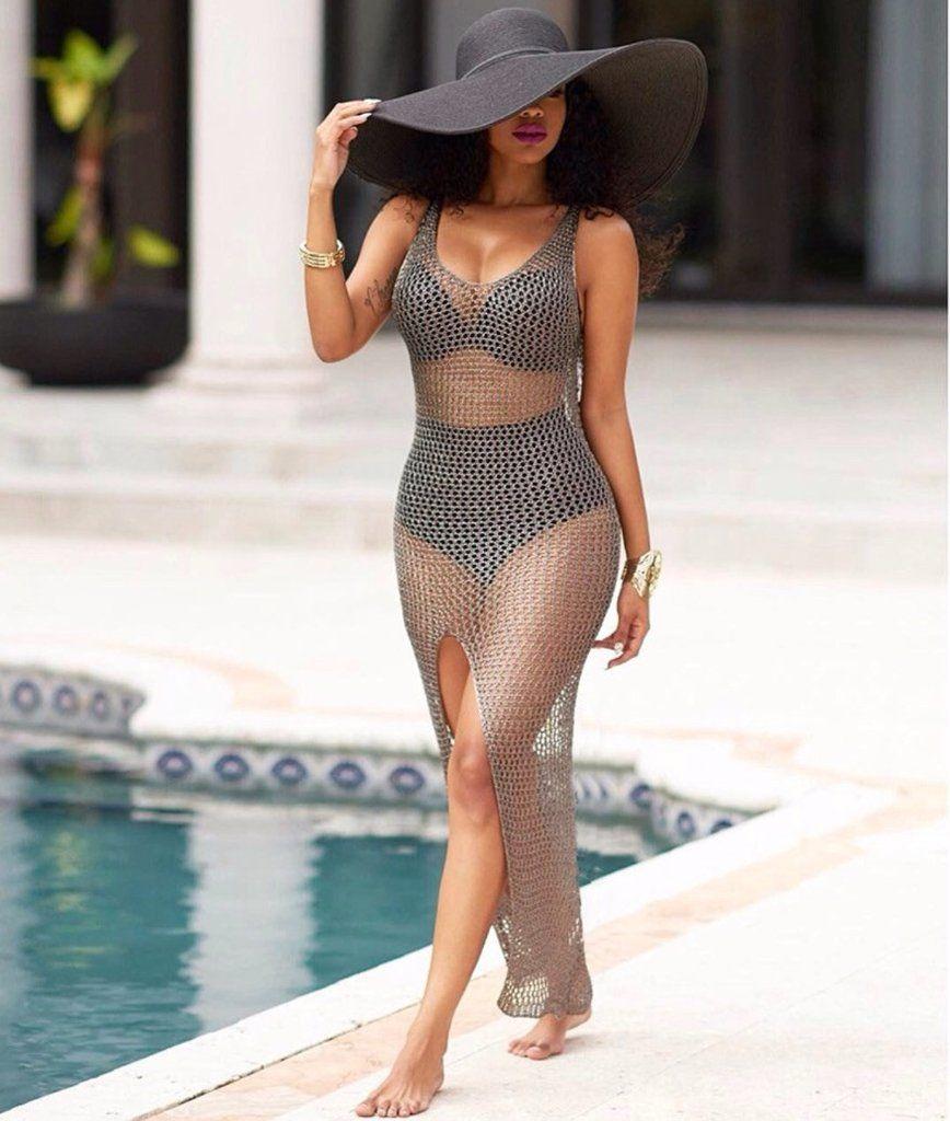 d21e877b9d 2017 Sexy Hollow Out Mesh Maxi Dress Summer Beach Party See Through Bodycon  Women Vestidos High Split Long Dress