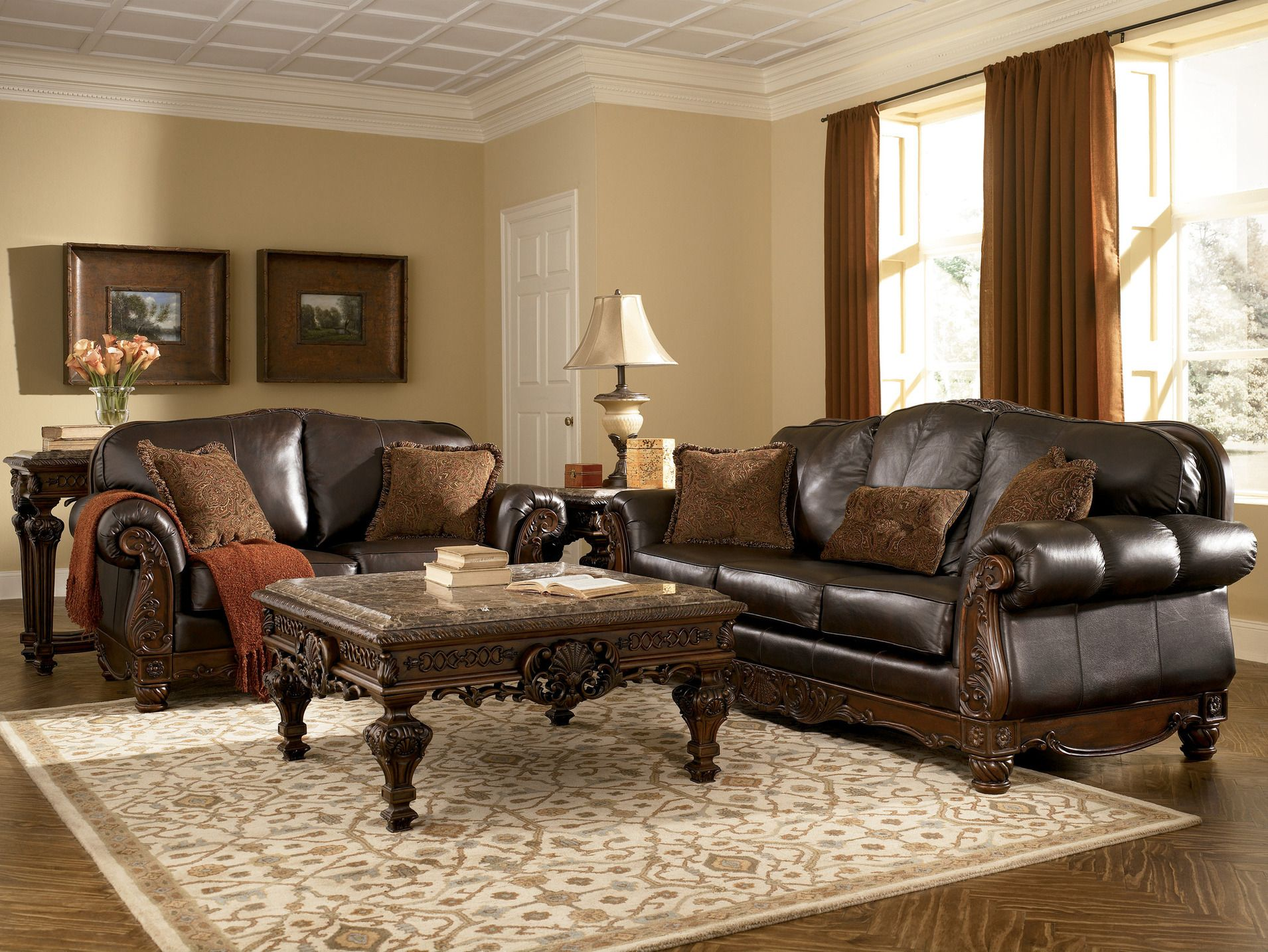 Best Old World Living Rooms Leather Brown Traditional 640 x 480