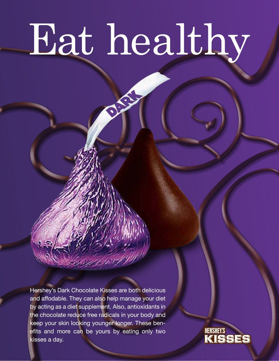 An ad for dark chocolate Hershey's kisses