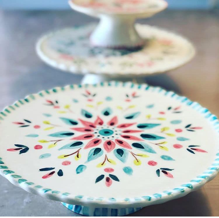Painted porcelain cake plate #potterypaintingdesigns