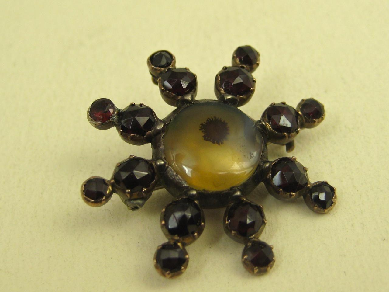 Rare georgian moss agate garnet collar pin pendant in k rose gold