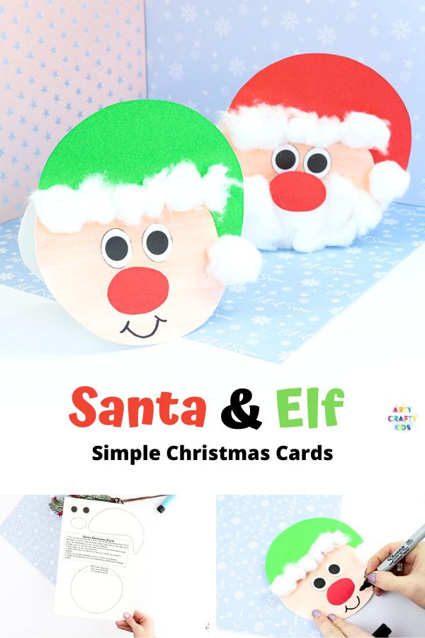 Easy Santa Christmas Card Christmas Cards Kids Santa Christmas Cards Easy Preschool Crafts