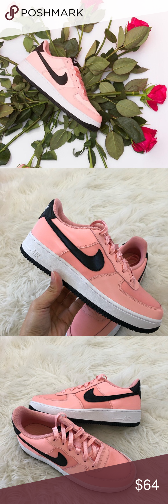 sports shoes eb394 4561e New✓ NIKE Air Force 1 VDay GS ~ 7Y brand new no lid size 7Y fits women s  8.5 bleached coral black white comes from smoke free home 100% authentic ...