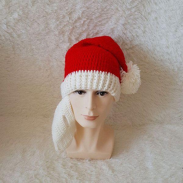 6846fe2f6ab Men Women Winter knitted Santa Claus Beanie Hats Skull Face Mask Beard Hat  For Christmas Gift