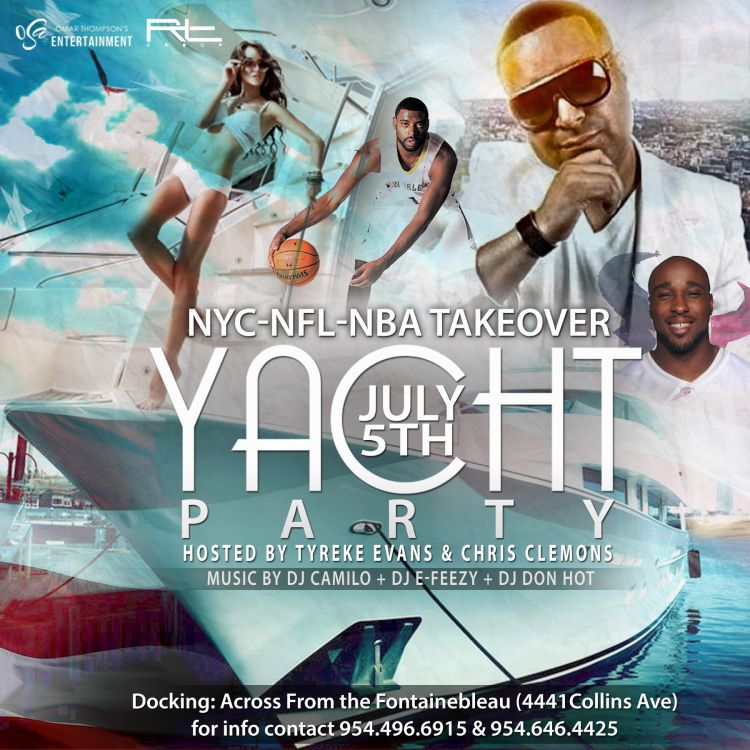 MIA - NYC, NFL & NBA Takeover Yacht Party 7/5