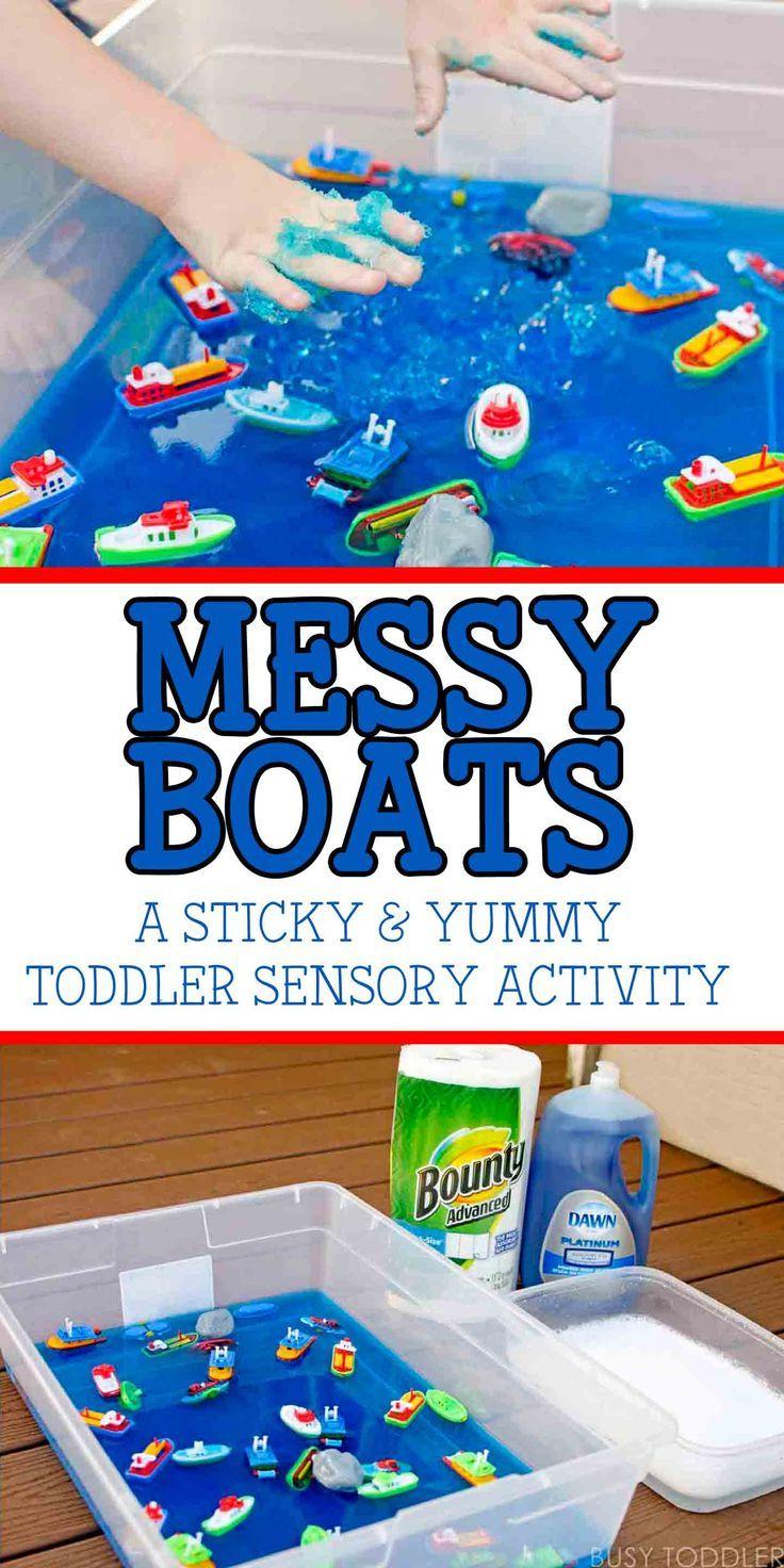 Messy Boats: Sticky, Yummy Toddler Play #sensorythings