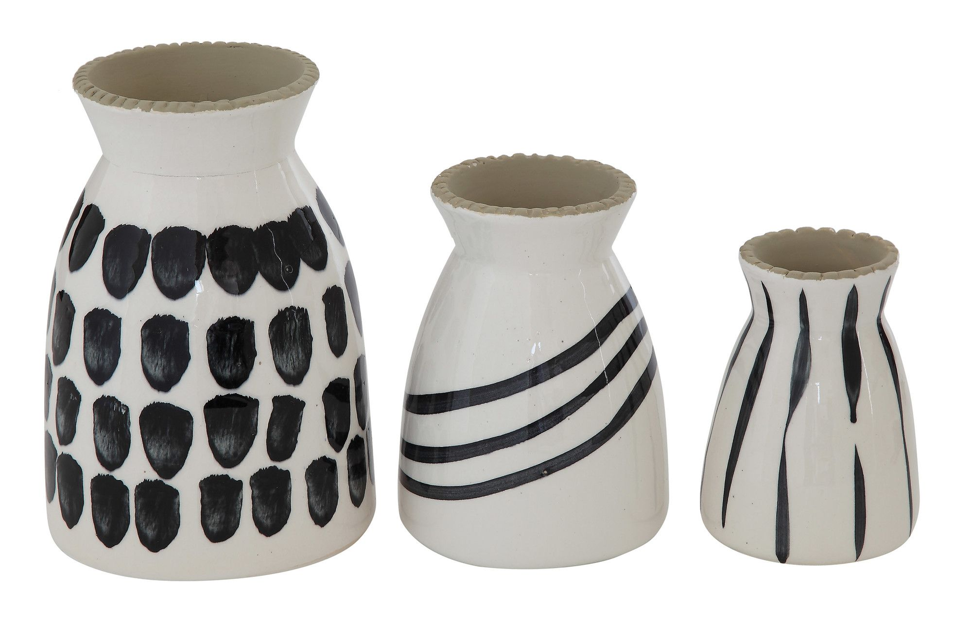 Smudge 3 Piece Stoneware Hand Painted Vase