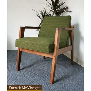 Superior Mid Century Modern Wood U0026 Green Upholstery Arm Chair | Furnish Me Vintage