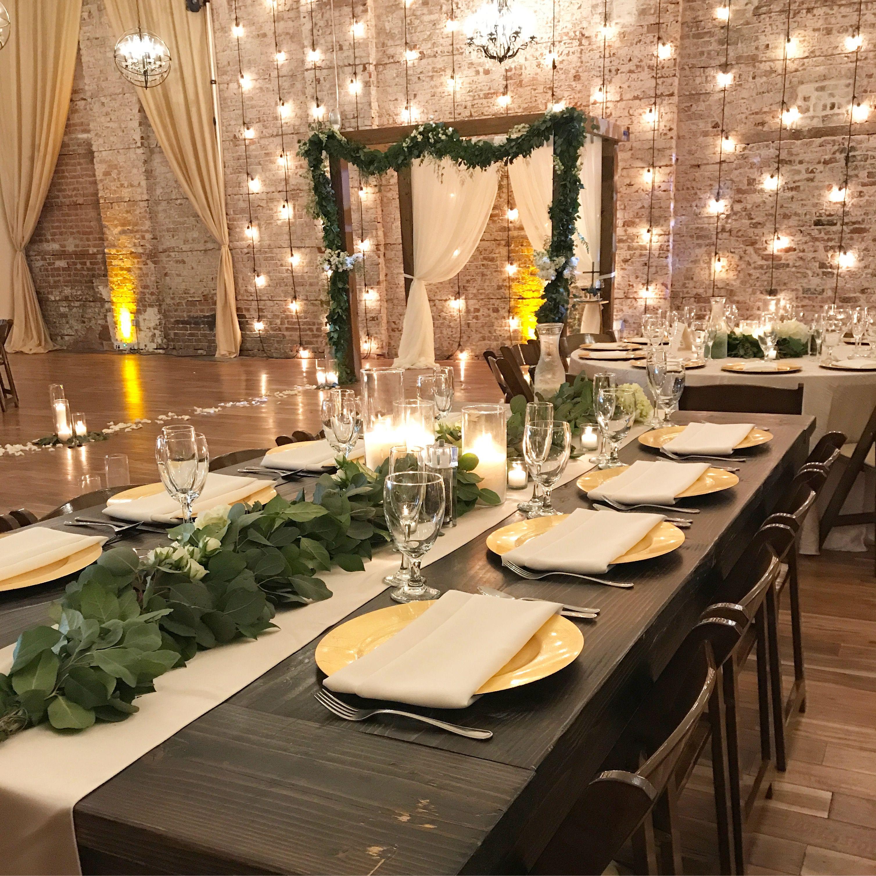 Wedding Altar Garland: Champagne Drapes