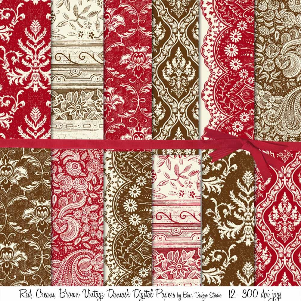 Scrapbook ideas christmas card - Scrapbook Layouts Red And Brown Damask Digital Paper For Creating Christmas Cards Planner Stickers Photo