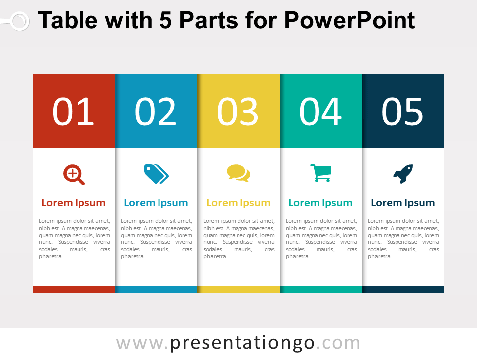 5 part table diagram for powerpoint presentationgo free 5 part table for powerpoint fandeluxe Gallery
