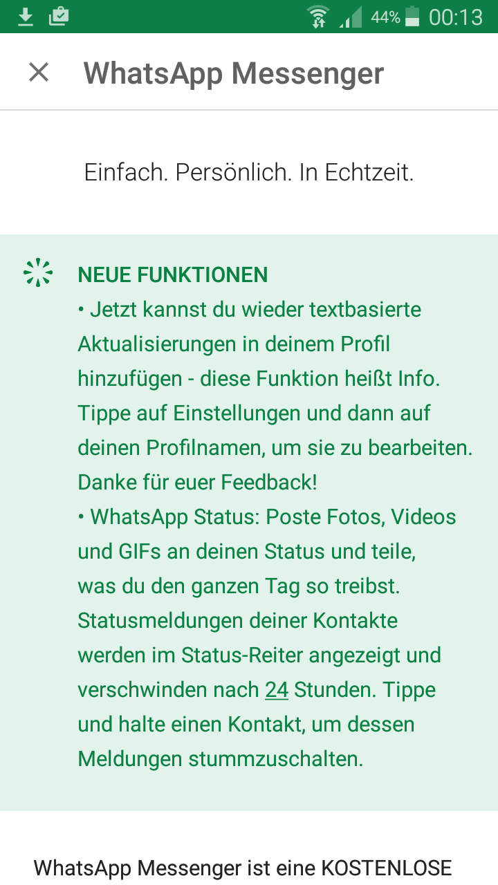 WhatsApp Update: Alte Text Statusanzeige kommt nach Update wieder ...