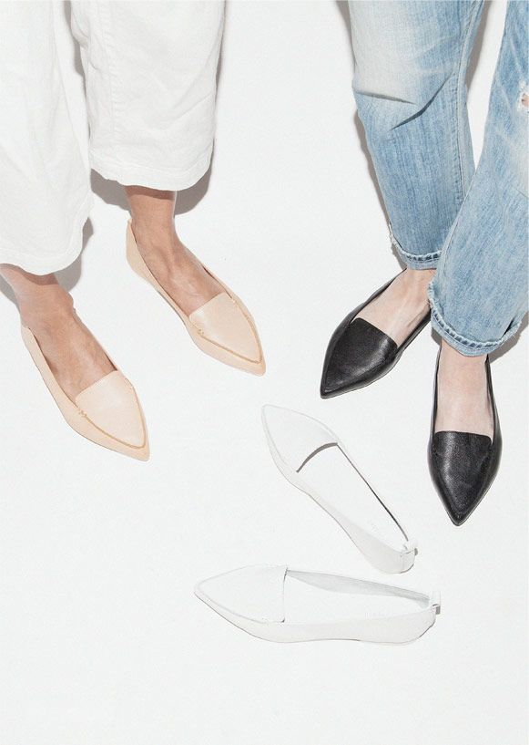 2846e2d8098b68 Le Fashion Blog Shoe Crush Jeffrey Campbell Vionnet Classic Pointy Toe Flats  Loafers Budget Friendly Cropped White Jeans Need Supply Co.