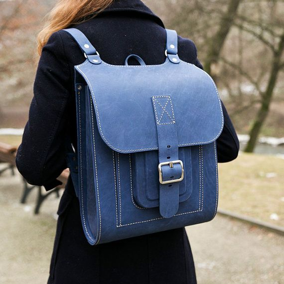 Blue leather backpack handmade of hard and sturdy leather. Unique ...