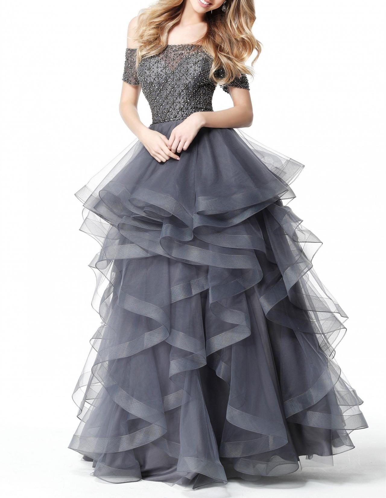 off shoulder two piece tulle prom dress long prom dresses