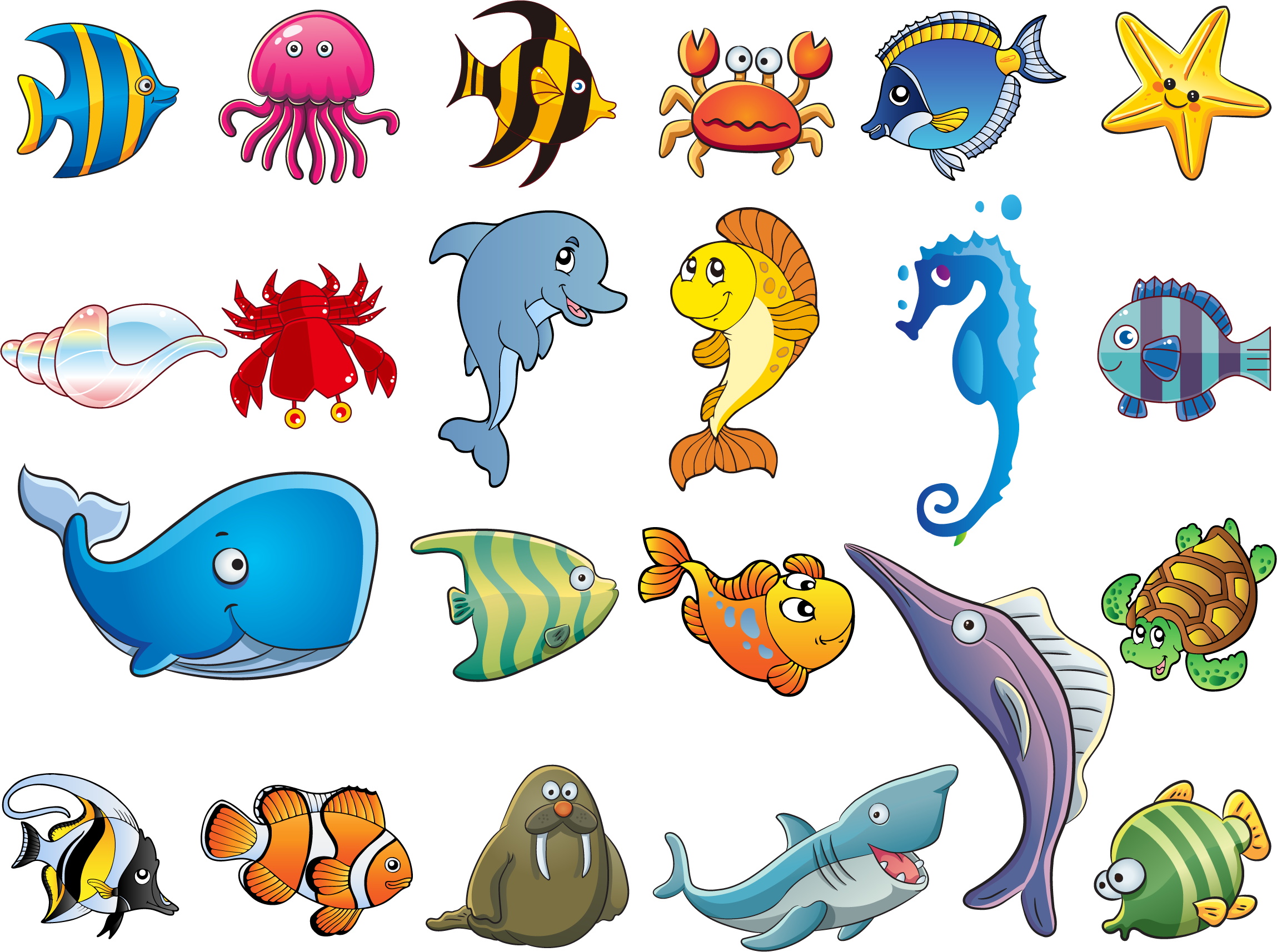 Vector Cartoon Animals Cartoon sea animals, Cartoon