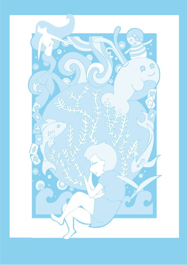Ilustración gráfica. A blue dream. By Toñi Martínez