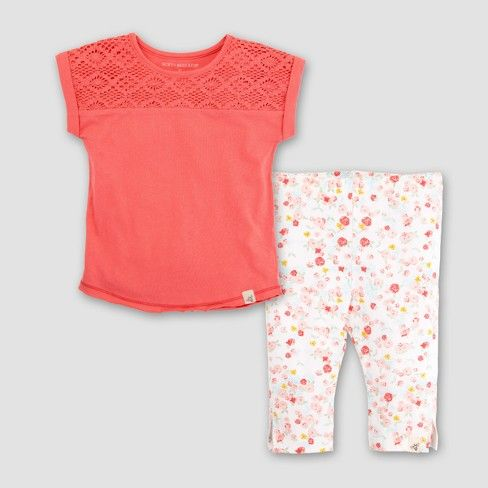 0baf2cc4a Burt s Bees Baby Girls  Organic Cotton Crochet Yoke Dolman T-shirt ...