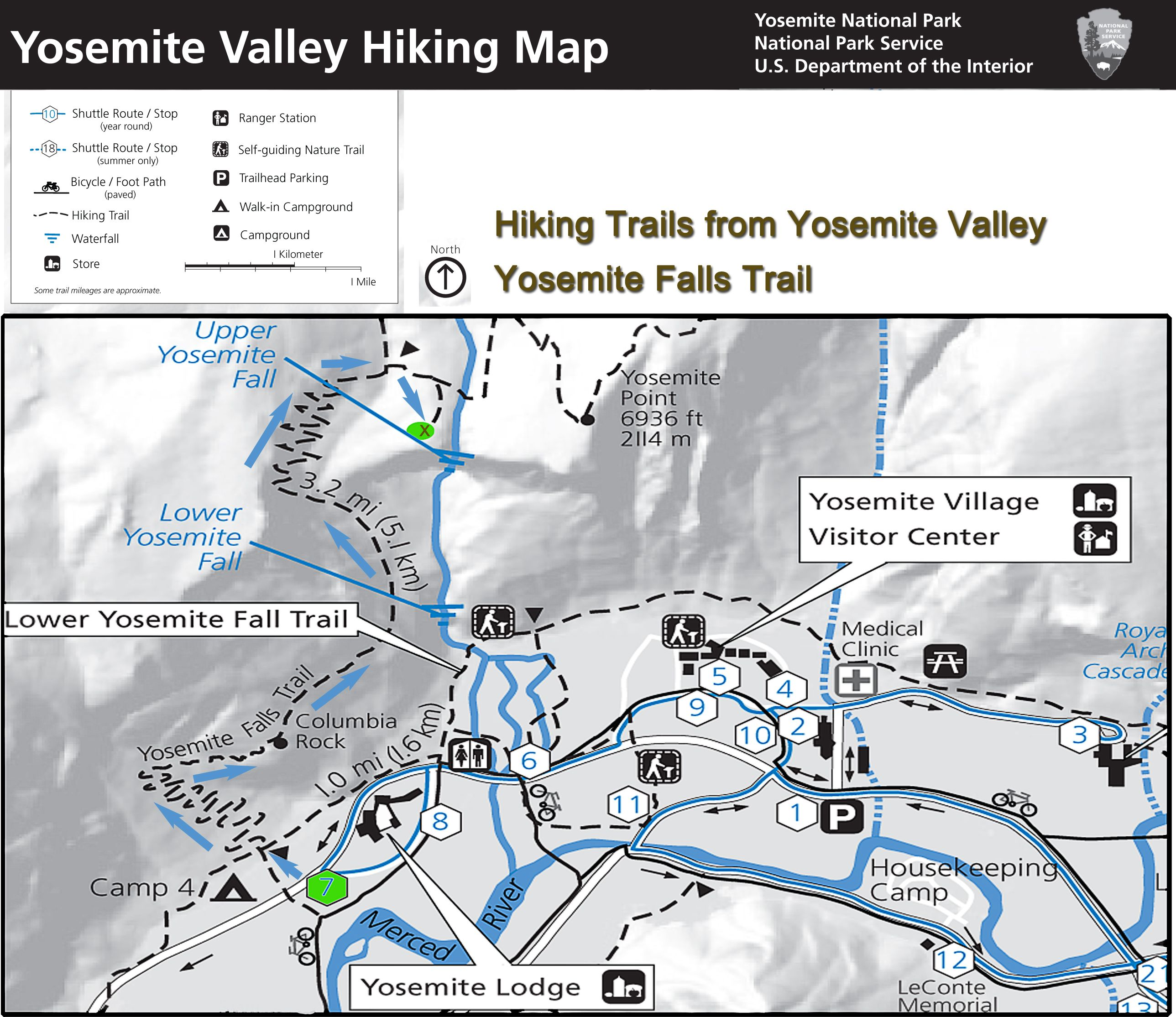 Yosemite Hiking Map Yosemite Falls Trail Yosemite Falls is the