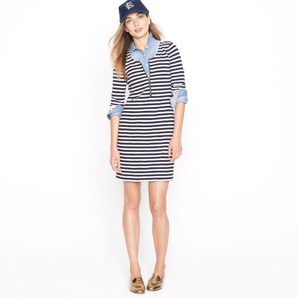 88cd0f7002e JCREW J Crew zip-front nautical stripe dress tshirt dress navy white XS  xsmall