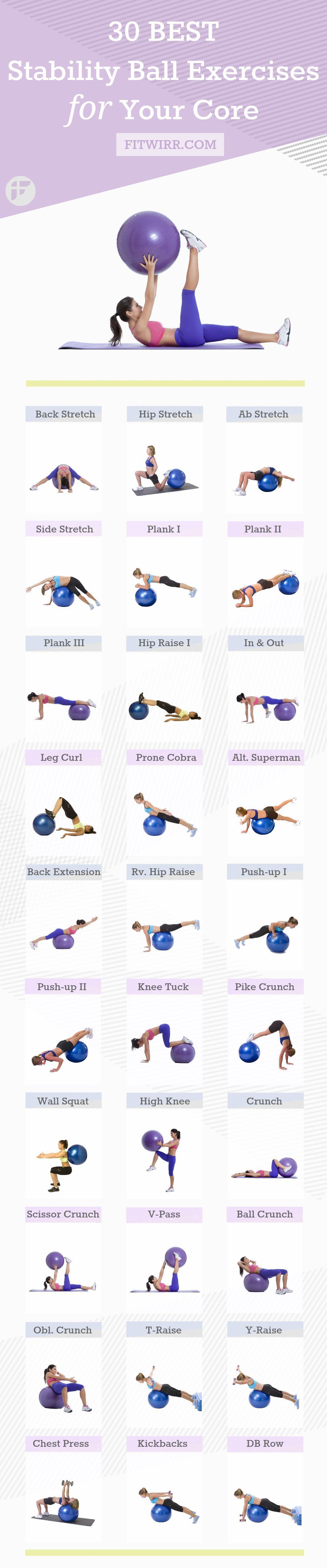 30 Best Stability Ball Exercises for Beginners 30 best stability ball exercises to improve your core strength, balance, flexibility and overall fitness. #fitnessexercises