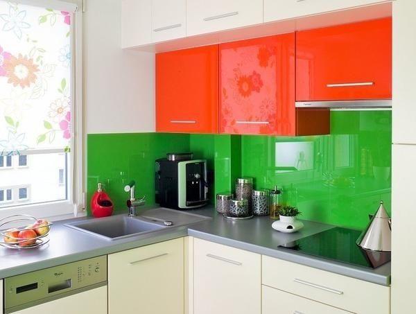Glasrückwand grün hochglanz orange küche schrankfronten | Interior ... | {Schrankfronten 7}