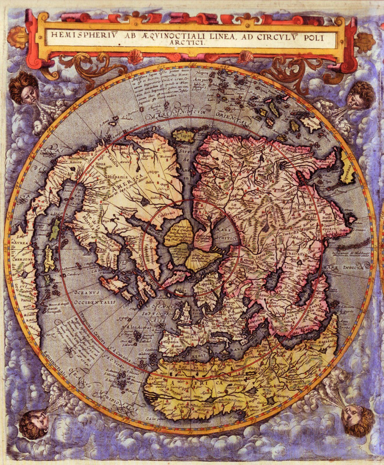 World Map 16th Century World Maps Of The Northern And Southern Hemisphere  Published In 1593 By