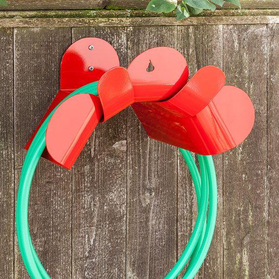 Items Similar To LG Cherry Red Steel Hose Holder Garden Hose Holders Metal Hose  Hanger Garden Hose Reel Modern Painted Hose Holder Pearhut Flower Hose ...