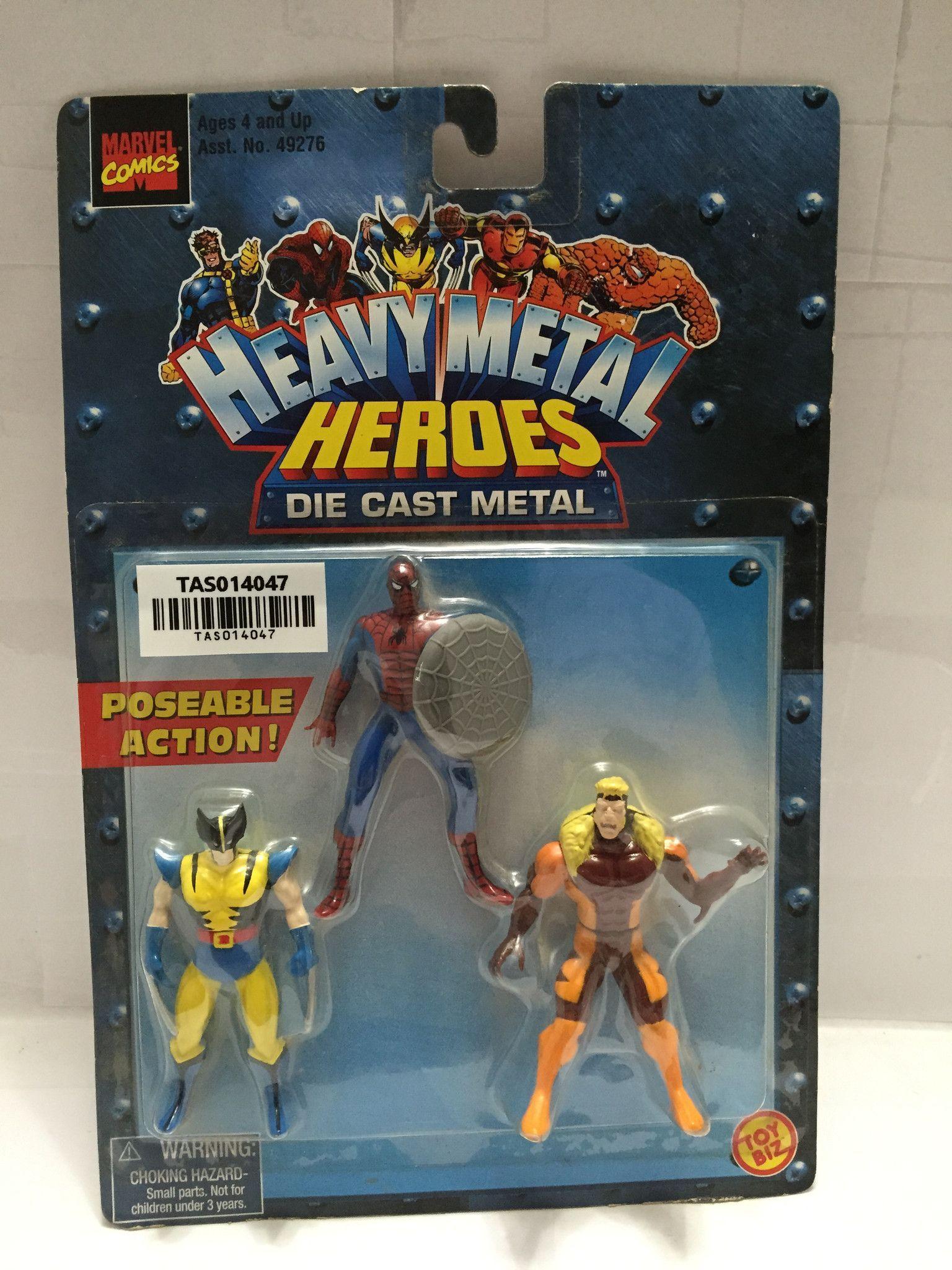 (TAS014047) - 1999 Marvel Comics Heavy Metal Heroes Die Cast Metal 3-pk