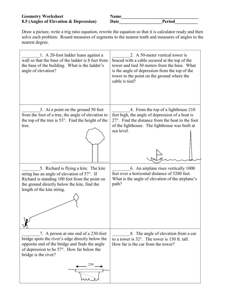 Angles Of Elevation Depression Trig Word Problems Worksheet