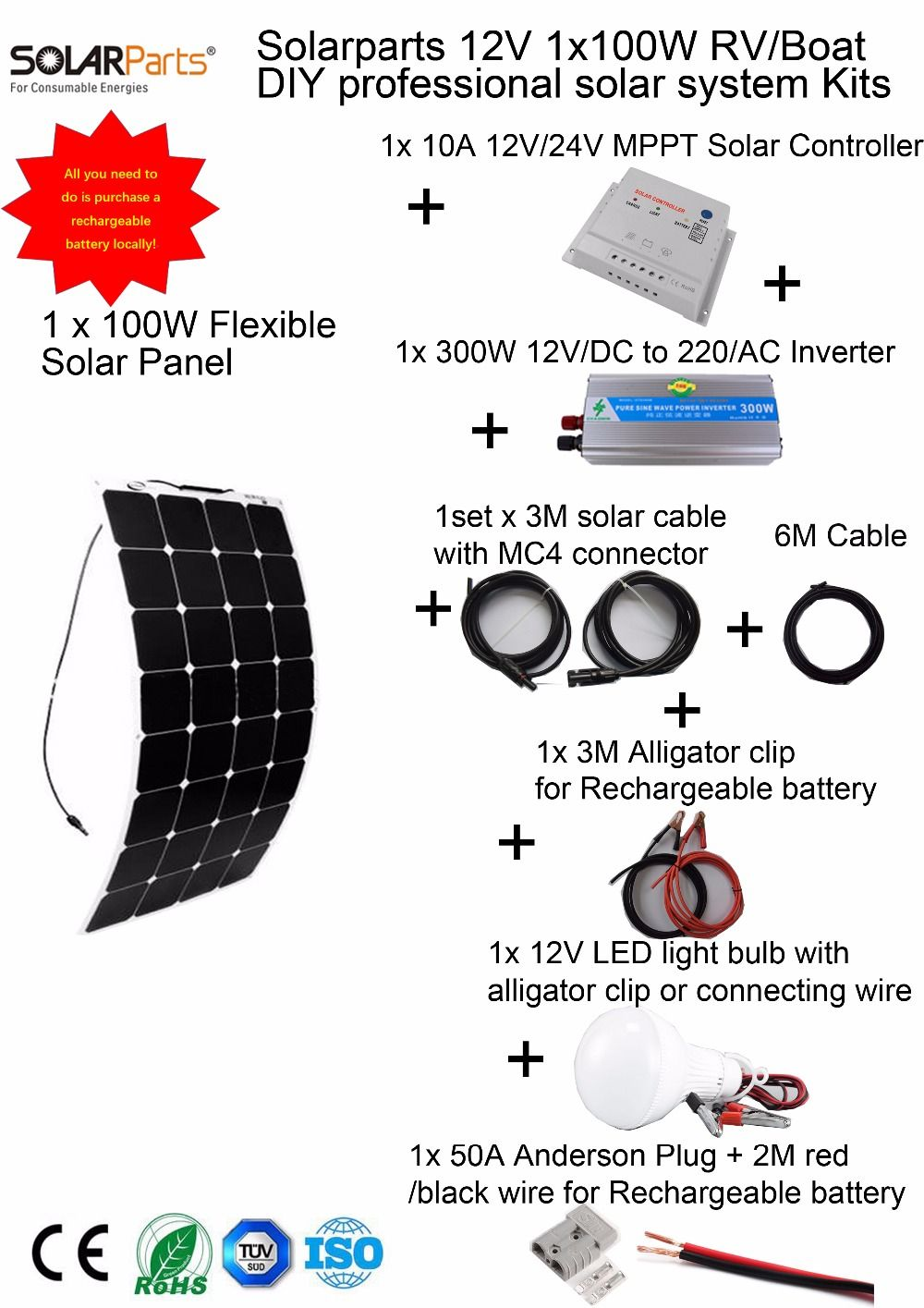 Solarparts 1x100w Professional Diy Rv Boat Marine Kits Solar Home House Battery Wiring System 100w Flexible Panel Mppt Controller Inverter Led
