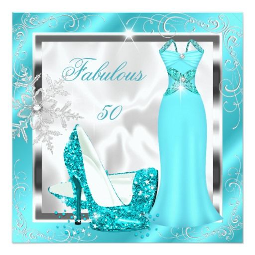 Fabulous 50 Party Teal Blue Silver Dress Heels S10 Card